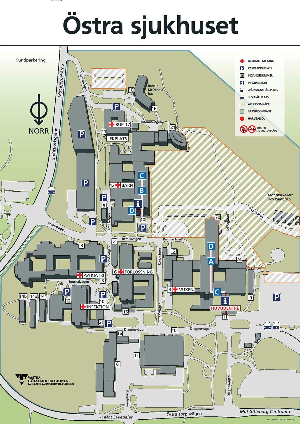 Karta Ostra Sjukhuset Sahlgrenska Universitetssjukhuset