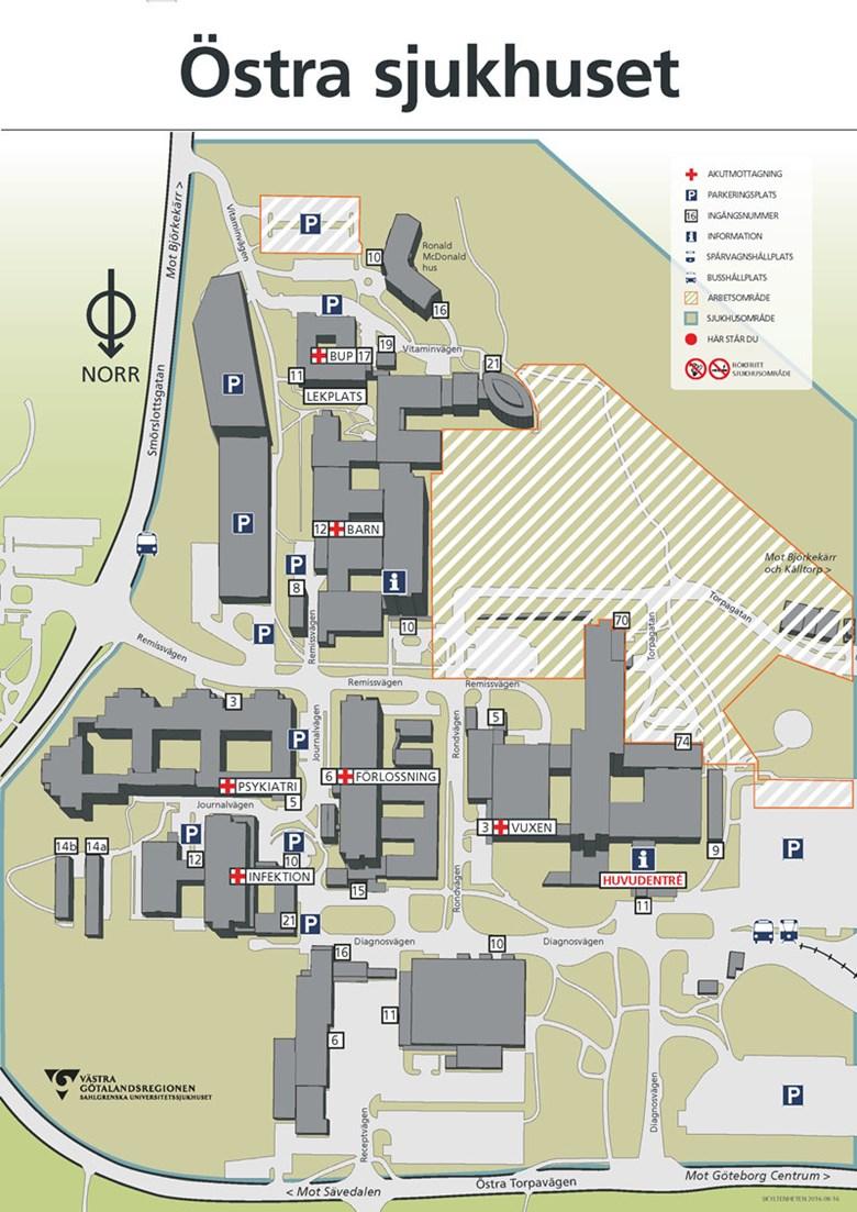 karta sahlgrenska Karta Östra sjukhuset   Sahlgrenska Universitetssjukhuset karta sahlgrenska