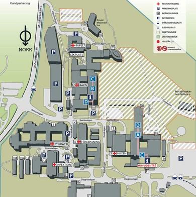 Ostra Sjukhuset Karta